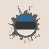 Kreis mit Industrieverwandtschattenbildern Vektor vorhanden Lizenzfreie Stockfotos