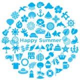 Kreis mit japanischen Sommerikonen stock abbildung