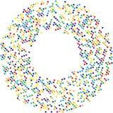 Kreis mit Punkten für Projektplanung Halbtoneffektvektorillustration Bunte Punkte auf weißem Hintergrund Goldener Hintergrund Rou lizenzfreie abbildung