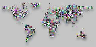 Kreis punktiert Schachbrettmusterweltkarte auf Grau Lizenzfreie Stockfotos