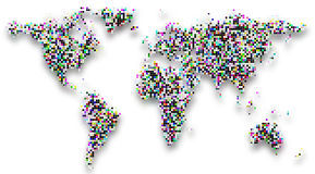 Kreis punktiert Schachbrettmusterweltkarte auf Weiß Lizenzfreie Stockfotos