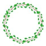 Kreis-Rahmen von den grünen Niederlassungen Hochzeits-Dekorationen, Einladungen Vektorillustration für Ihren Entwurf, Netz stock abbildung