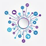 Kreis-Social Media-Verbindung lizenzfreie abbildung
