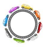 Kreis-Straßen-Rahmen mit bunten Autos auf Weiß Lizenzfreies Stockfoto
