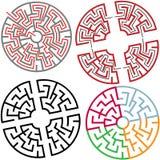 Kreis-und Lichtbogen-Labyrinth verwirren Teile mit Lösung Stockfotos