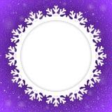 Kreis-Violet Background New Year Snow-Schneeflocke Lizenzfreies Stockfoto