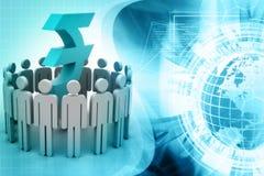 Kreis von abstrakten Leuten um Rupie stock abbildung