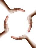 Kreis von vier Händen Stockfoto