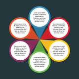 6 Kreis-Wahl von Infographic-Element für Geschäft und von Darstellung mit dunklem Hintergrund Lizenzfreies Stockbild