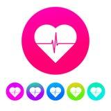 Kreis-, weißes Herz mit einem Impuls, der ihn Ikone/Logo durchläuft Bunte Steigungen stock abbildung