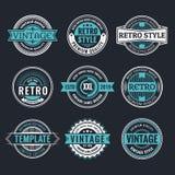 Kreis-Weinlese und Retro- Ausweis-Design-Sammlung stock abbildung