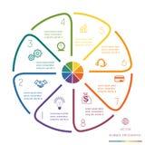 Kreis zeichnet Infographic acht Positionen Stockbild