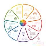 Kreis zeichnet Infographic neun Positionen Lizenzfreie Stockfotos