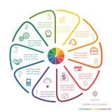 Kreis zeichnet Infographic zehn Positionen Stockfotos