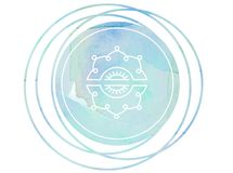 Kreisaquarellmandalameditation Symbol-OM-Lotos vektor abbildung
