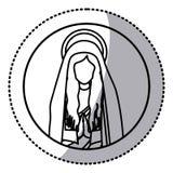 Kreisaufkleber mit halbem Körperheiligem betende Jungfrau Maria der Kontur Stockfotos