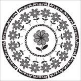 Kreisblumenverzierung im Schwarzen für unterschiedliches De Lizenzfreies Stockfoto