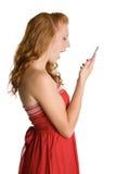 Kreischen der Telefon-Frau stockfoto