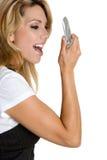 Kreischen der Telefon-Frau Lizenzfreie Stockbilder