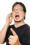 Kreischen am Telefon stockbilder
