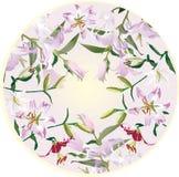 Kreisdekoration mit Lilienblumen Stockbild