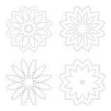 Kreisdesignschablonen Runde dekorative Muster Satz der kreativen Mandala lokalisiert auf Weiß Stockfotos