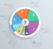 Kreisdiagramm mit Ikonen, infographics, für Netz und MO Lizenzfreie Stockfotos