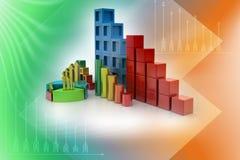Kreisdiagramm und Balkendiagramm Stockfoto