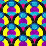 Kreise und Linien extrahieren geometrischen nahtlosen Mustervektorillustrations-Schmutzeffekt Stockfotos