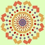 Kreise und Quadrate auf einem orange Hintergrund Schönes nahtloses Muster für Beschaffenheit Dekoratives Element Stockfotografie