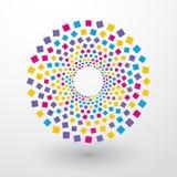 Kreise von farbigen Quadraten Stockbild
