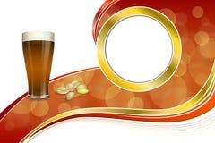 Kreisen Glaspistazien des dunklen Bieres des abstrakten roten Getränks des Hintergrundes Goldrahmenillustration ein Stockbilder
