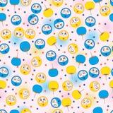 Kreisen Sie des frechen nahtloses Muster Spiel-Fans des Gesichtsspaßes ein Stockbilder