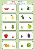 kreisen Sie die kleinen Früchte, große oder kleine das Arbeitsblatt der Entdeckung für Kinder, gegenüber von ein bogen Lizenzfreie Stockbilder