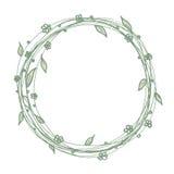 Kreisen Sie Floradekorationsrahmen-Schablonenhintergrund in der Linie Kunstzeichnung ein Lizenzfreies Stockbild