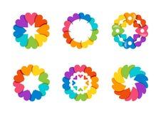 Kreisen Sie Herzlogo, gesunde Liebe arround Regenbogens, globales Blumenherzsymbolikonen-Vektordesign ein Stockbild