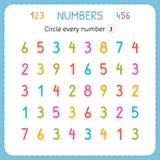Kreisen Sie jede Nr. drei ein Zahlen für Kinder Arbeitsblatt für Kindergarten und Vorschule Ausbildung, zum von Zahlen zu schreib vektor abbildung