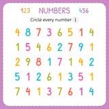 Kreisen Sie jedes Nummer Eins ein Zahlen für Kinder Arbeitsblatt für Kindergarten und Vorschule Ausbildung, zum von Zahlen zu sch lizenzfreie abbildung