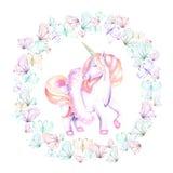 Kreisen Sie Rahmen ein, winden Sie mit Aquarellangebotschmetterlingen und rosa Einhorn lizenzfreie abbildung