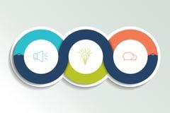 Kreisen Sie zuerst, zweites und drittes Diagramm, Entwurf, Diagramm ein Schablone 3 für Darstellung stock abbildung