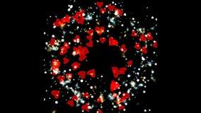 Kreisexplosion von roten Herzen stock video footage