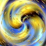 Kreisförmige abstrakte Beschaffenheit mit goldenen Lichtern Stockfoto