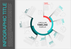Kreisförmige infographic Zeitachseschablone Stockbild