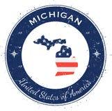 Kreisförmiger patriotischer Ausweis Michigans Stockbild