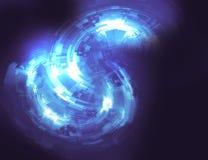 Kreisförmiges grafisches Element des abstrakten Hintergrundes in den blauen Farben Stock Abbildung