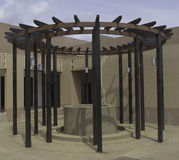 Kreisförmiges hölzernes Gitter Stockfotos