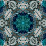 Kreisförmiges kaleidoskopisches Muster blauen Grüns Browns stock abbildung
