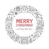 Kreisfahnenillustration der frohen Weihnachten mit flacher Linie Ikonen Grußkartenkiefer des neuen Jahres, Geschenke, Geschenkbox stock abbildung