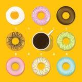 Kreisform der verschiedenen Snäcke vorhanden im Pop-Arten-Farbton Lizenzfreies Stockbild