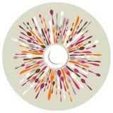 Kreisgaststättehintergrund mit Tischbesteckfarben Stockfoto